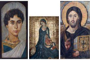 Слева направо: Аутентичная копия фаюмского портрета молодой женщины (оригинал находится в венском Музее истории искусств), энкаустическая копия Мадонны из «Благовещения» Симоне Мартини (оригинал находится в Эрмитаже), аутентичная копия Синайского Спаса — одного из первых известных изображений Христа (Оригинал находится в монастыре Санта-Катерина на Синае, а копия Акселя в церкви 12-ти Апостолов в Кфар-Нахуме)