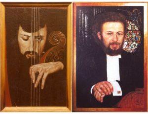 Портреты Миши Майского (1986) и Валерия Майского (1982). Энкаустика
