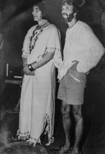 Аксель и Анри Волохонский на празднике Пурим в Тверии в 1984 году