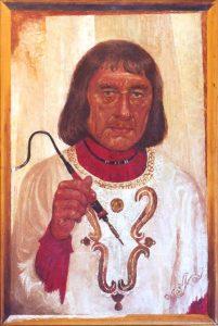 Автопортрет Акселя с каутерием. Аксель говорил, что Анри Волохонский прозвал этот портрет «Чайник с паяльником». Энкаустика. 1984