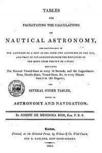Титульный лист английских Астрономических таблиц для определения широты по двум высотам Солнца и долготы методом лунных расстояний