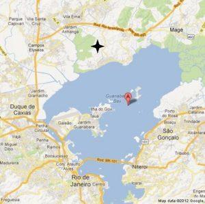 Карта окрестностей г. Рио-де-Жанейро и залива Гуанабара