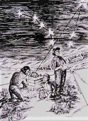 Измерение высоты Полярной звезды через искусственный горизонт в ходе экспедиции Фремонта в Орегон (США) в 1842 г. Мальчик, держащий фонарь, — младший брат жены Фремонта (9 лет). Предположительно рисунок Ч. Преусса