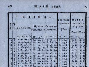 Страница 26 Морского месяцеслова на 1823 г. с эфемеридами Солнца на май 1823 г.