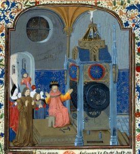Рис. 3. Царь Соломон чинит механические часы, миниатюра из рукописи Horloge de Sapience, 1461–65, Bibliotheque Nationale, MS fr. 455, fol 9
