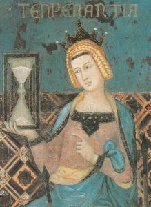Рис. 6. Мера (Умеренность) с песочными часами; деталь «Аллегории хорошего правления» Лоренцетти, 1338 год (находится в Palazzo Pubblico в Сиеннe, фото из Википедии)..