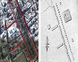 Снимок из космоса района расположения площади Ж. Варгаса в Нова- Фрибурго (слева) и соответствующий фрагмент плана исполненного Рубцовым (справа)
