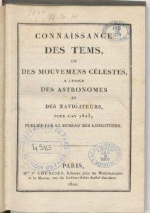 Титульный лист французского Астрономического календаря на 1823 г