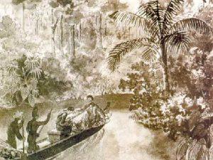 Каноэ с находящимися в нем Лангсдорфом и Рубцовым. Рис. Э. Флоранса (1828 г.)