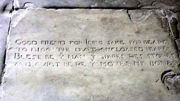 Надгробная плита Шекспира