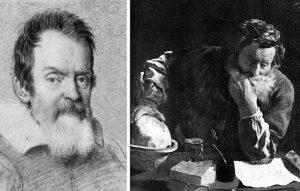 Портреты Галилея (с натуры) и Архимеда (по воображению), сделанные в 1620-е годы.Галилей назвал Архимеда «божественнейшим» (divinissimi) в рукописи 1590 года «De Motu» (О движении), с которой начался путь Галилея к изобретению современной физики