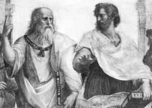 Платон и Аристотель (по воле Рафаэля) показывают «на пальцах», какой мир главный — мир идей или материальный мир