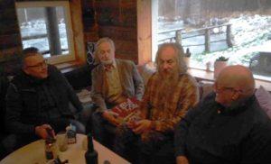 «А поутру они проснулись». Слева направо: Дима, Агу, шесть томов «Небольшой Советской Энциклопедии», Алвар, автор