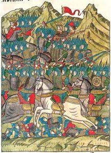 Битва Тохтамыша против Мамая на Калке, миниатюра XVI века