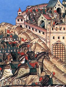 Осада Москвы войсками Тохтамыша, миниатюра XVI века
