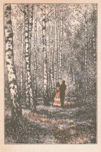 В берёзовом лесу, гравюра Ф. Домогацкого
