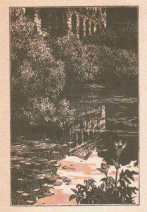 Заросший пруд в старой усадьбе, гравюра Ф. Домогацкого