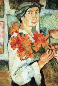 Н.Гончарова. Автопортрет с желтыми лилиями 1907г.