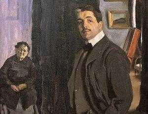 Л. Бакст. Портрет С. Дягилева с няней. 1906 г.