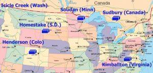 Рис.1. Основные физические лаборатории, расположенные на шахтах Северной Америки. https://www2.kek.jp/physics-seminar/pdf2005/051101_Wilkes.pdf